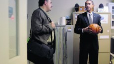 **  FILE  ** In this Oct. 21, 2008, file photo Democratic presidential candidate, Sen. Barack Obama, D-Ill., right, holds a basketball as he talks to his chief strategist David Axelrod, backstage before an economic summit in Lake Worth, Fla. (AP Photo/Jae C. Hong, File)